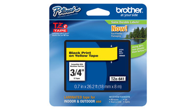 "Brother P-Touch Label Tape - 3/4"", Black on Yellow"