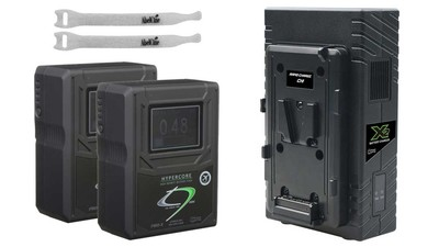 Core SWX GP-X2S Simultaneous Dual Charger + (2) 98Wh Hypercore 9 Mini Batteries & FREE AbelCine Cable Ties Kit - V-Mount