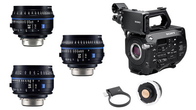 Sony FS7 Mark II & ZEISS CP.3 Compact Prime 3-Lens Bundle - PL Mount