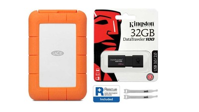 LaCie Rugged USB 3.1-C with Rescue - 2TB with Kingston 32GB Flash Drive and AbelCine Cable Tie