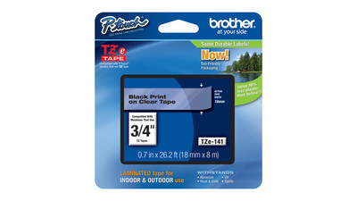 "Brother P-Touch Label Tape - 3/4"", Black on Clear"