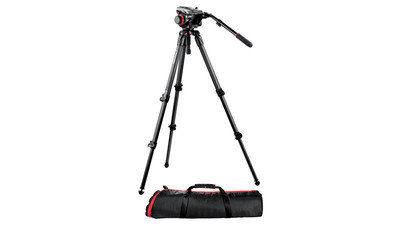 Manfrotto 504HD/535K Video Head & Carbon Fiber Tripod System - 75mm Ball