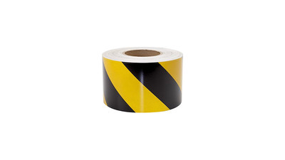 "Hazard Safety Tape with Adhesive Backing - 4"" x 40 yd / Roll, Yellow/Black"