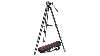Manfrotto MVH500A Fluid Head & MVT502AM Pro Video Tripod System - 60mm Half Ball