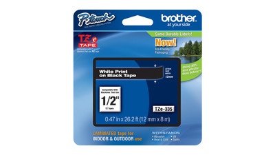 "Brother P-Touch Label Tape - 1/2"", White on Black"