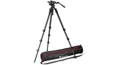 Manfrotto Nitrotech N12 Video Head with CF Tall Single Legs Tripod System - 100mm Half Ball