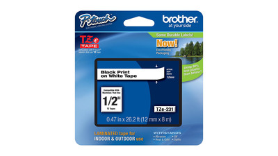 "Brother P-Touch Label Tape - 1/2"", Black on White"