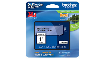 "Brother P-Touch Label Tape - 1"", Black on Clear"