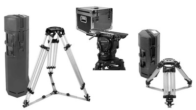 OConnor 2575D with Ronford HD Baby & Tall Tripods with Spreaders and Tuffpak Cases