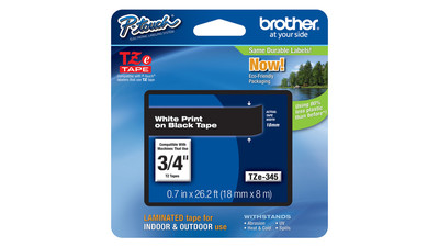"Brother P-Touch Label Tape - 3/4"", White on Black"