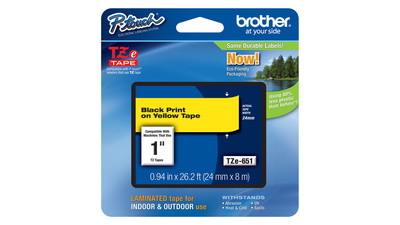 "Brother P-Touch Label Tape - 1"", Black on Yellow"