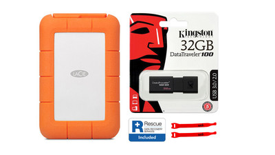 LaCie Rugged USB 3.1-C with Rescue - 4TB with Kingston 32GB Flash Drive and AbelCine Cable Tie