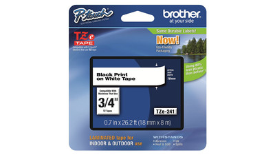 "Brother P-Touch Label Tape - 3/4"", Black on White"