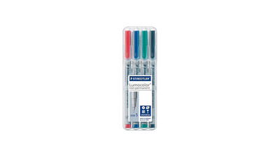 Staedtler Lumocolor Non-Permanent Marker - 0.4mm Super Fine, Assorted Colors (4-Pack)