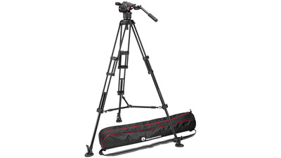 Manfrotto Nitrotech N8 Video Head with Twin Leg Tripod Middle Spreader System - 75mm Half Ball