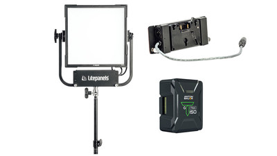 Litepanels Gemini 1x1 RGBWW LED Panel with Battery Plate & Titon 150 Lithium-ion Battery (Gold Mount)
