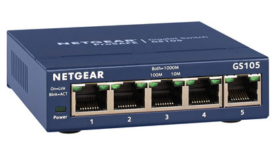 NETGEAR ProSAFE GS105 5-Port Gigabit Desktop Switch - 10/100/1000 Mbps