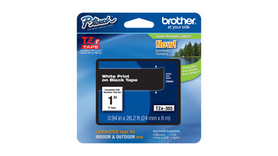 "Brother P-Touch Label Tape - 1"", White on Black"