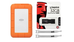 LaCie Rugged Mini USB 3.0 - 2TB with Kingston 32GB Flash Drive and AbelCine Cable Tie