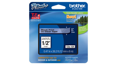 "Brother P-Touch Label Tape - 1/2"", Black on Clear"