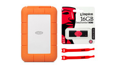 LaCie Rugged Mini USB 3.0 1TB with Kingston 16GB Flash Drive and AbelCine Cable Tie