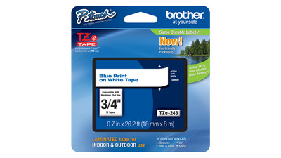 "Brother P-Touch Label Tape - 3/4"", Blue on White"
