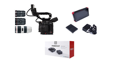 Canon EOS C200 Camera Triple Lens Kit + Atomos Ninja Flame & Power Kit Bundle - EF Mount