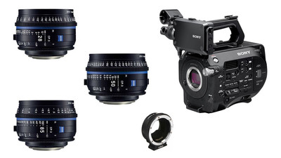 Sony FS7 Mark II & ZEISS CP.3 Compact Prime 3-Lens Bundle - EF Mount