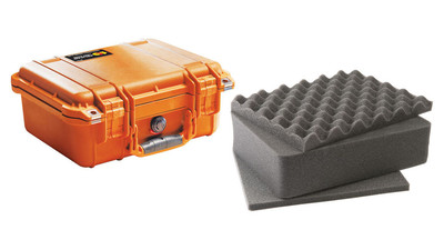 Pelican 1400 Small Case with Foam - Orange