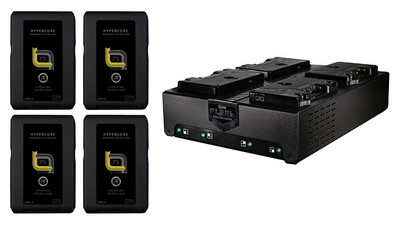 Core SWX FLEET-Q4AG Four Position Simultaneous Charger and HyperCore SLIM 7 75Wh Battery Kit