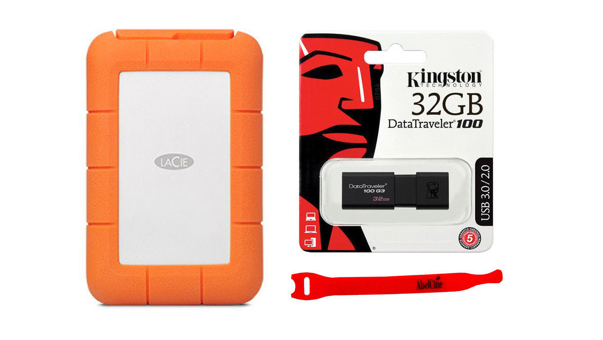 Lacie Rugged Mini Usb 3 0 2tb With Kingston 32gb Flash Drive And Abelcine Cable Tie