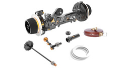 Bright Tangerine Revolvr Dual Sided Follow Focus Kit - 15mm Studio with Leather Tape Measure