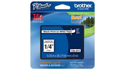"Brother P-Touch Label Tape - 1/4"", Black on White"