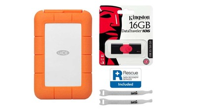LaCie Rugged USB 3.1-C with Rescue - 1TB with Kingston 16GB Flash Drive and AbelCine Cable Tie