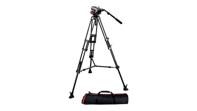 Manfrotto 504HD/546BK Video Head & Pro Video Tripod System - 75mm Ball, Mid-Level Spreader