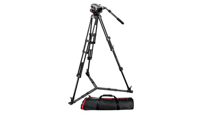 Manfrotto 504HD/546GBK Video Head & Pro Video Tripod System - 75mm Ball, Ground Spreader