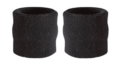 Suddora Wrist Sweatband - Athletic Cotton Terry Cloth Wristband for Sports, Black (Pair)