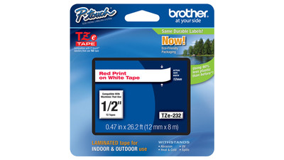 "Brother P-Touch Label Tape - 1/2"", Red on White"