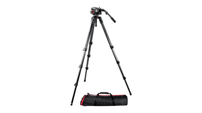 Manfrotto 504HD/536K Video Head & Carbon Fiber Tripod System - 75mm Ball