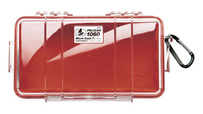 Pelican 1060 Micro Case - Clear, Red